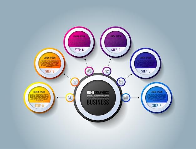Presentazione aziendale infografica modello cerchio colorato con sei passaggi