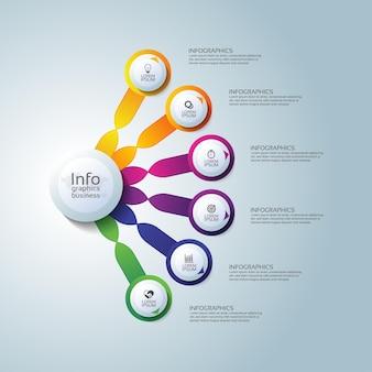 Cerchio del modello di infografica aziendale di presentazione colorato con sei passaggi