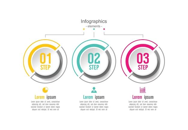 Cerchio modello di presentazione aziendale infografica con 3 passaggi