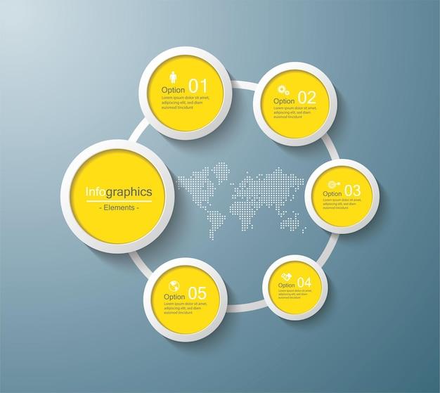 Cerchio modello di presentazione aziendale infografica con 5 passaggi