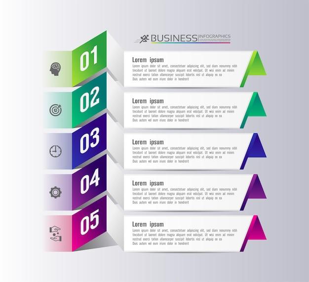 Cerchio del modello di infografica aziendale di presentazione con cinque passaggi