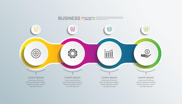 Presentazione aziendale modello infografico cerchio con quattro fasi
