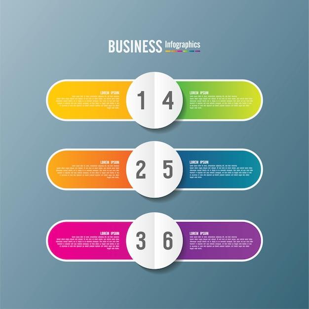 Modello di presentazione aziendale infografica colorato con 6 passaggi