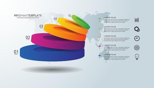 Modello di presentazione aziendale infografica colorato con cinque passaggi