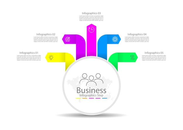 Modello di infografica aziendale di presentazione colorato con cinque passaggi