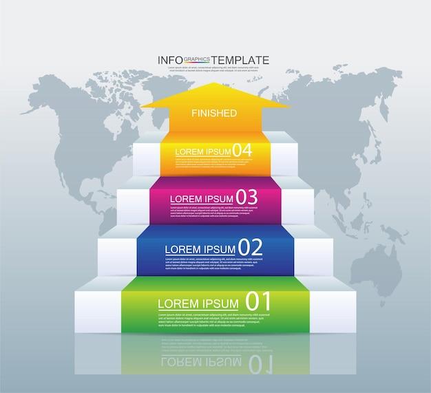 Modello di infografica aziendale di presentazione colorato con quattro passaggi
