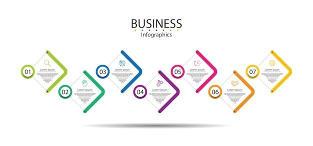 Modello di infografica aziendale di presentazione colorato con sette passaggi