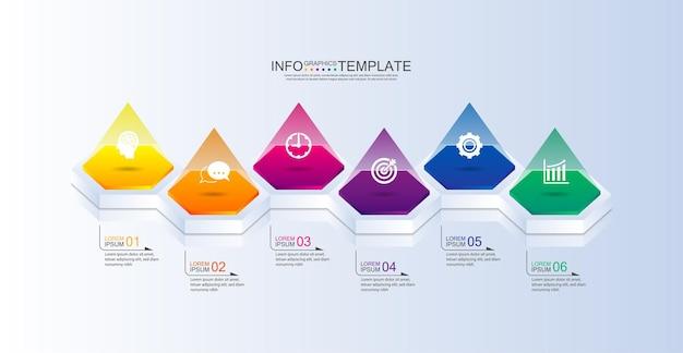 Modello di presentazione aziendale infografica colorato con sei passaggi