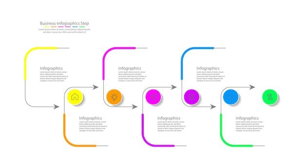 Modello di infografica aziendale di presentazione colorato con sei passaggi