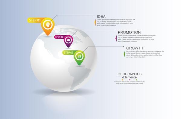 Elementi del modello di infografica aziendale di presentazione con tre passaggi