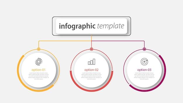 Modello di presentazione aziendale infografica con 3 opzioni