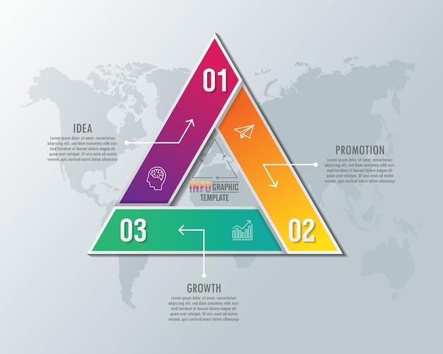 Modello di presentazione aziendale infografica con 3 passaggi