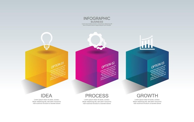 Modello di presentazione aziendale infografica con 3 passaggi Vettore Premium