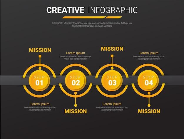 Modello di presentazione aziendale infografica con 4 opzioni. illustrazione vettoriale.