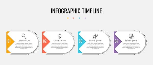 Modello di infografica aziendale di presentazione con 4 opzioni