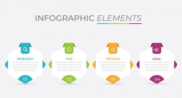 Modello di presentazione aziendale infografica con 4 opzioni.