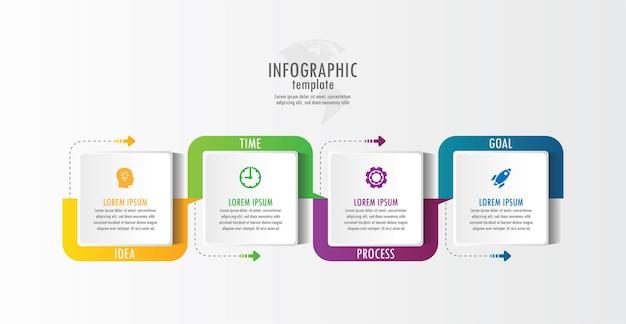 Modello di presentazione aziendale infografica con 4 passaggi