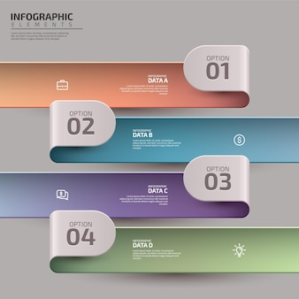 Modello di infografica aziendale di presentazione con flusso di lavoro colorato in 4 passaggi o diagramma di processo