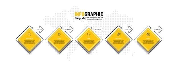 Modello di presentazione aziendale infografica con 5 passaggi