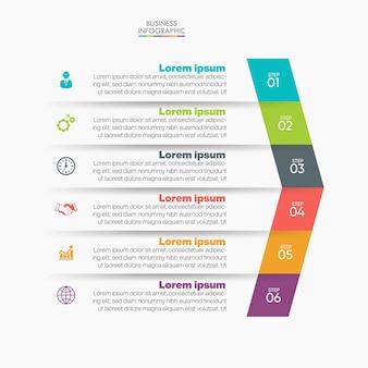 Modello di presentazione aziendale infografica con 6 opzioni.