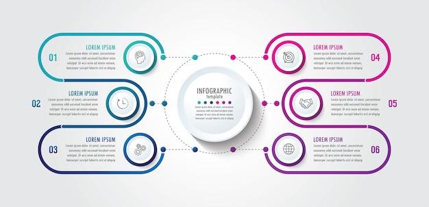 Modello di presentazione aziendale infografica con 6 passaggi