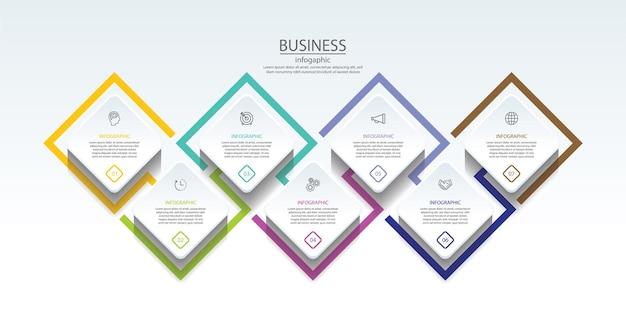 Modello di presentazione aziendale infografica con 7 passaggi