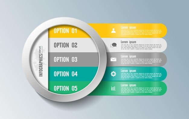 Modello di presentazione aziendale infografica con cinque passaggi