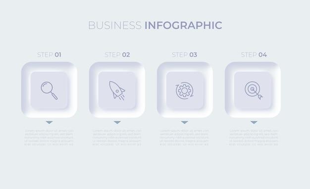 Modello di infografica aziendale di presentazione con quattro opzioni vettore premium