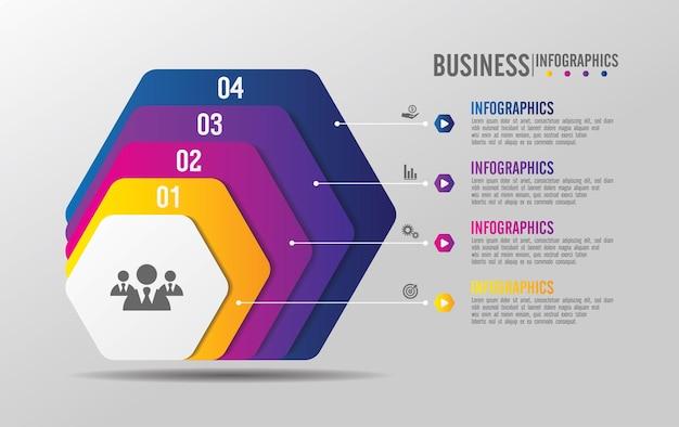 Modello di presentazione aziendale infografica con quattro passaggi