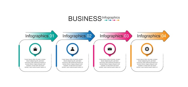 Modello di infografica aziendale di presentazione con quattro passaggi