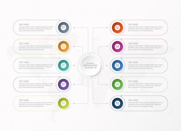 Modello di presentazione aziendale infografica con icone e 10 opzioni o passaggi.