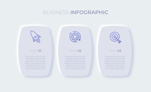 Modello di infografica aziendale di presentazione con tre opzioni vettore premium