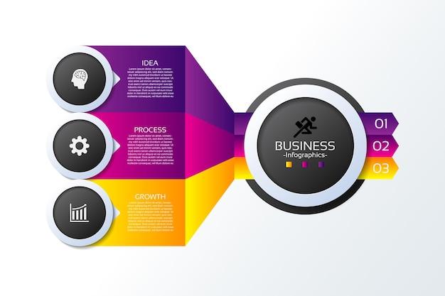 Modello di presentazione aziendale infografica con tre passaggi