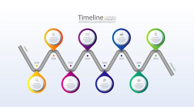 Cronologia infografica aziendale di presentazione colorata con otto passaggi