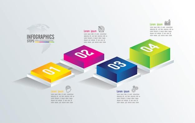 Presentazione aziendale infografica con 4 passaggi
