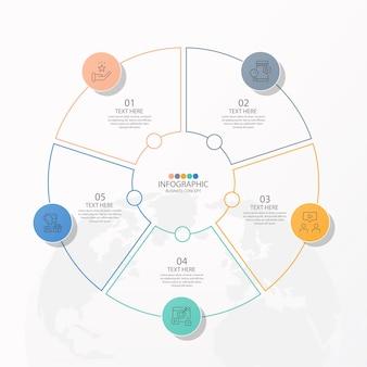 Infografica aziendale di presentazione con 5 opzioni con icone a linee sottili per diagrammi di flusso, presentazioni, siti web, banner, materiali stampati. infografica concetto di affari.