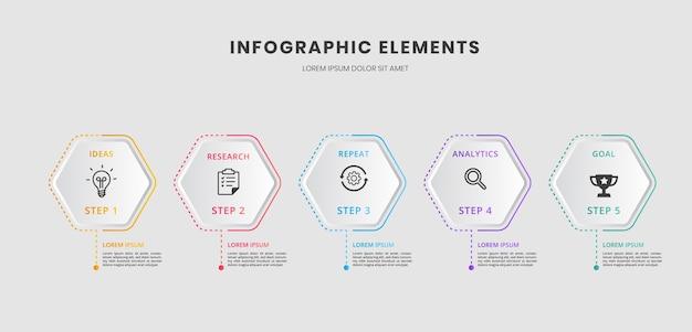 Presentazione aziendale infografica con 5 passaggi