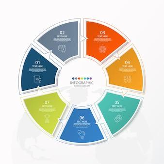 Presentazione aziendale infografica con 7 opzioni con icone a linee sottili per diagrammi di flusso