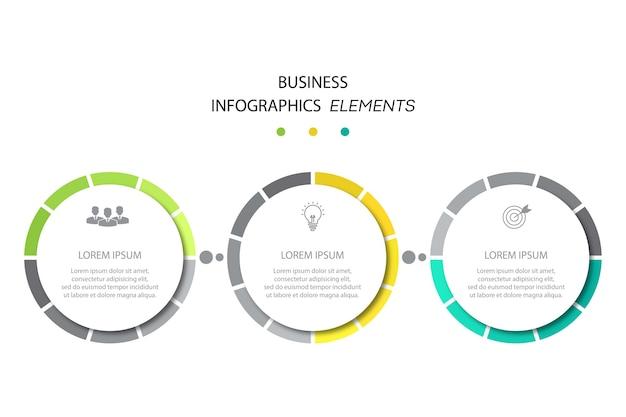Modello di infografica aziendale di presentazione con 3 opzioni.