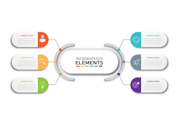 Modello di infografica aziendale di presentazione con 6 opzioni.