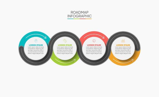 Presentazione modello di infografica mappa stradale aziendale con 4 opzioni.