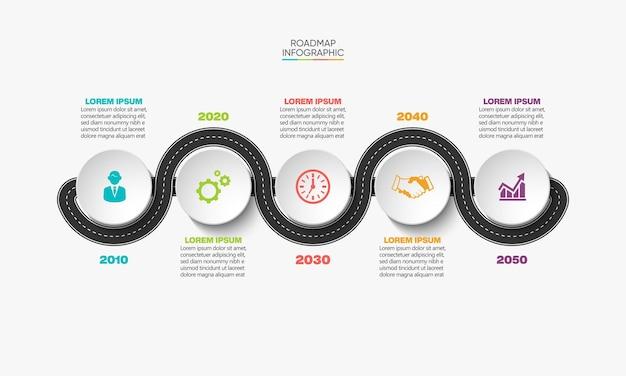 Presentazione modello di infografica mappa stradale aziendale con 5 opzioni