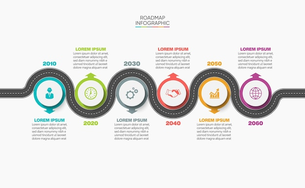 Presentazione modello di infografica mappa stradale aziendale con 6 opzioni.