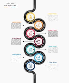 Presentazione modello di infografica mappa stradale aziendale con 7 opzioni.