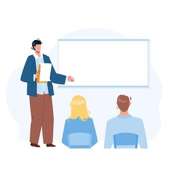 Presentazione strategia aziendale parlare lavoratore vettore. imprenditore dando presentazione per i colleghi in sala conferenze. personaggi ceo e dipendenti business meeting piatto cartoon illustration