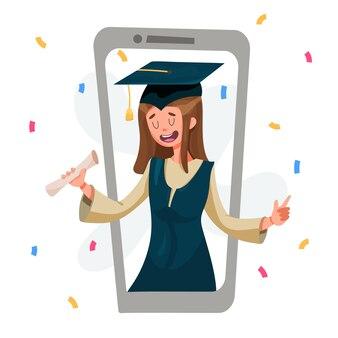 Presentazione dei diplomi tramite videocomunicazione. laureato in mantello con diploma