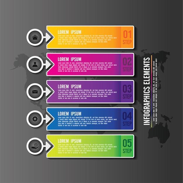 Elementi di presentazione infografica colorati con 5 passaggi