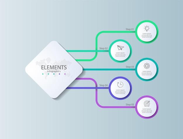 Elementi di presentazione infografica con cinque passaggi