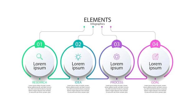 Elementi di presentazione infografica con quattro passaggi