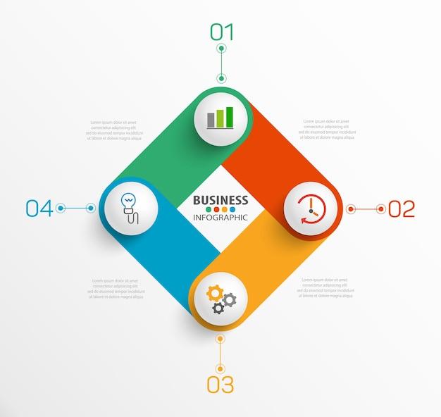 Modello di presentazione infografica con 4 opzioni